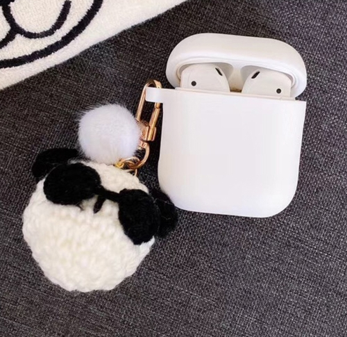 For Apple AirPods 1/2 Generation Universal Knitted Animal Hanging Bluetooth Headphone Protective Case(White)