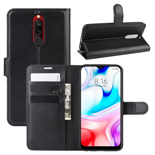 For Xiaomi Redmi 8 Litchi Texture Horizontal Flip Leather Case with Wallet & Holder & Card Slots(Black)