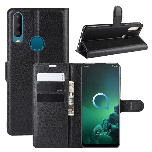 For Alcatel 3x (2019) Litchi Texture Horizontal Flip Leather Case with Wallet & Holder & Card Slots(Black) фото