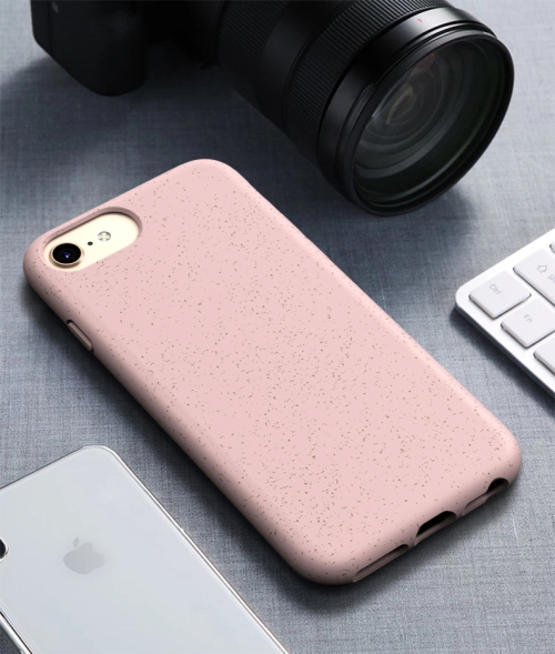 For iPhone7 & 8 Starry Series Shockproof Straw Material + TPU Protective Case(Pink)