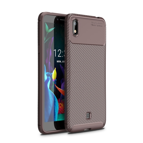 For LG K20(2019)Beetle Series Carbon Fiber Texture Shockproof TPU Case(Brown)