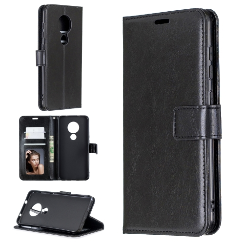 For Nokia 6.2 / 7.2 Crazy Horse Texture Horizontal Flip Leather Case with Holder & Card Slots & Wallet & Photo Frame(Black)