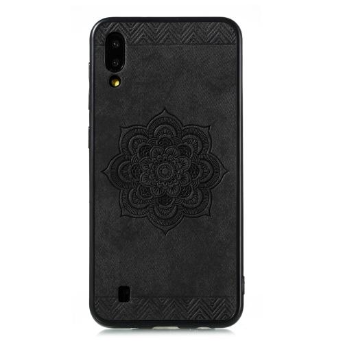 For Galaxy M10 / A10 Rose Mandala Pattern PC + TPU + PU Phone Case(Black)