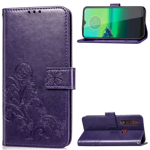 For Motorola G8 Play Four-leaf Clasp Embossed Buckle Mobile Phone Protection Leather Case with Lanyard & Card Slot & Wallet & Bracket Function(Purple)