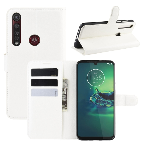 For Motorola Moto G8 Plus Litchi Texture Horizontal Flip Protective Case with Holder & Card Slots & Wallet(White)