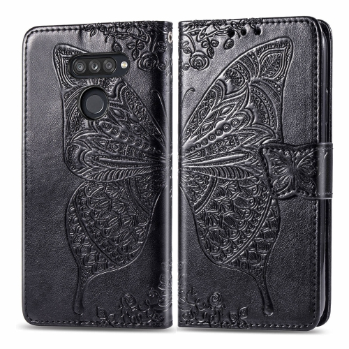 For LG K50S Butterfly Love Flower Embossed Horizontal Flip Leather Case with Bracket / Card Slot / Wallet / Lanyard(Black) фото