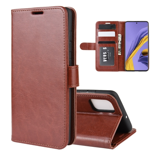 For Galaxy A51 R64 Texture Single Horizontal Flip Protective Case with Holder & Card Slots & Wallet& Photo Frame(Brown)
