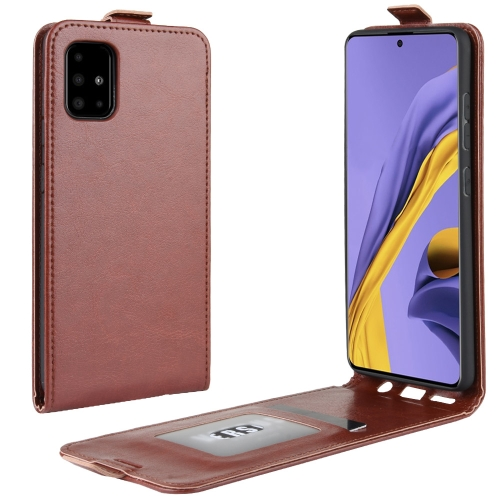 For Galaxy A51 R64 Texture Single Vertical Flip Leather Protective Case with Card Slots & Photo Frame(Brown)