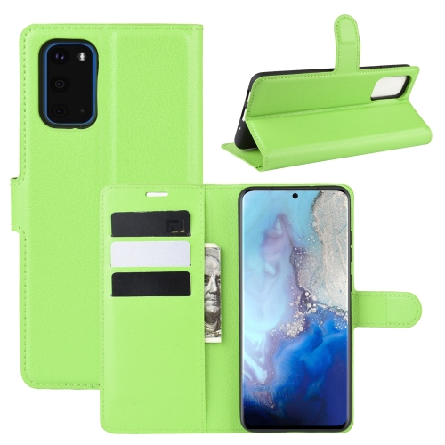 For Galaxy S20 Litchi Texture Horizontal Flip Protective Case with Holder & Card Slots & Wallet(Green) фото