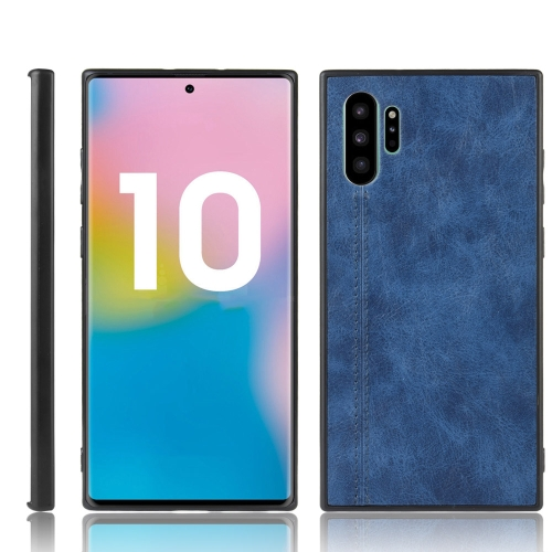 For Samsung Galaxy Note10+/Note10 Plus Shockproof Sewing Cow Pattern Skin PC + PU + TPU Case(Blue)