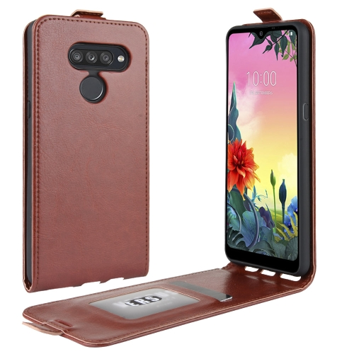 For LG K50S R64 Texture Single Vertical Flip Leather Protective Case with Card Slots & Photo Frame(Brown)