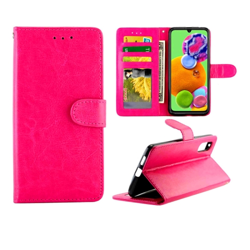 For Galaxy A90 5G Crazy Horse Texture Leather Horizontal Flip Protective Case with Holder & Card Slots & Wallet & Photo Frame(Magenta)