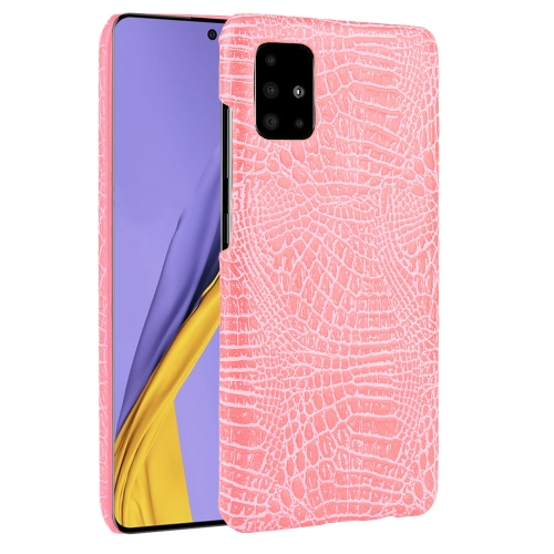 For Galaxy A51 Shockproof Crocodile Texture PC + PU Case(Pink) фото