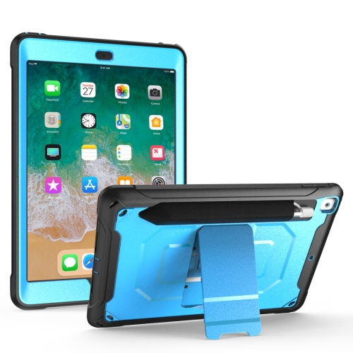 For iPad 9.7 (2018) & (2017) 360 Degree Rotation PC + Silicone Protective Case with Holder & Hand-strap(Light Blue) фото