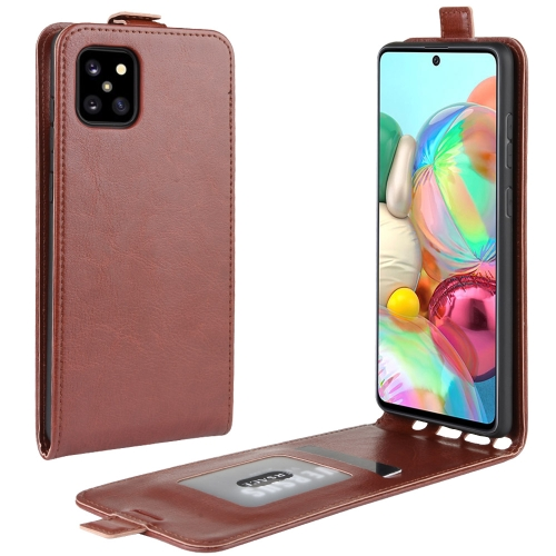 For Galaxy A81 / M60S / Note 10 Lite R64 Texture Single Vertical Flip Leather Protective Case with Card Slots & Photo Frame(Brown)