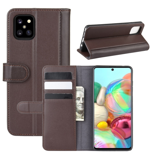 For Galaxy A81 / M60S / Note 10 Lite Horizontal Flip Genuine Leather Case with Holder & Card Slots & Wallet(Brown) фото
