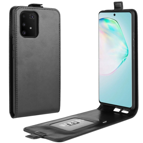 For Galaxy A91 / M80s / S10 Lite R64 Texture Single Vertical Flip Leather Protective Case with Card Slots & Photo Frame(Black)
