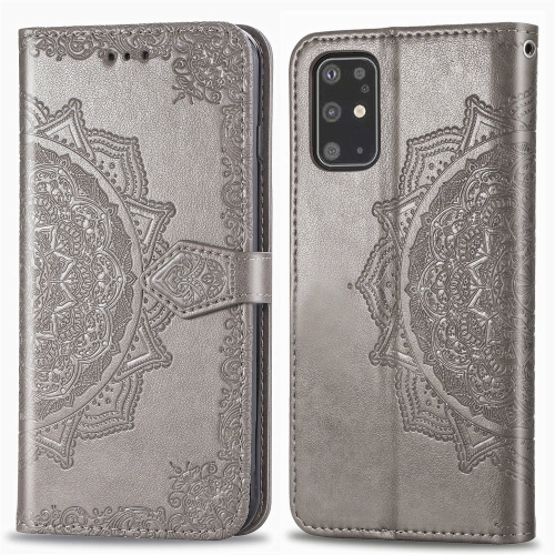 For Galaxy S20+ Halfway Mandala Embossing Pattern Horizontal Flip Leather Case with Holder & Card Slots & Wallet & Photo Frame & Lanyard(Gray)