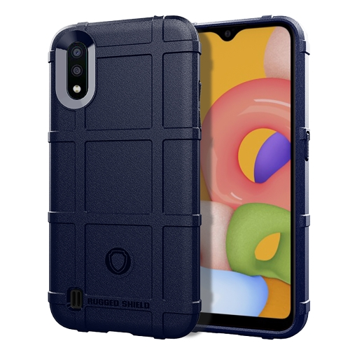 For Galaxy A01 Full Coverage Shockproof TPU Case(Blue)