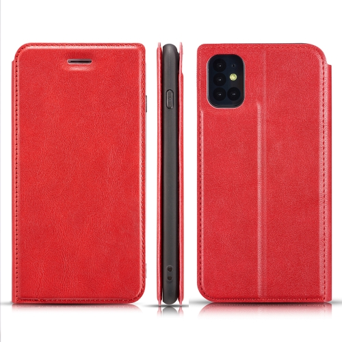 For Galaxy S11 Retro Simple Ultra-thin Magnetic Leather Case with Holder & Card Slots & Lanyard(Red)