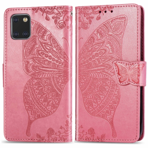 For Galaxy Note 10 Lite / A81 Butterfly Love Flower Embossed Horizontal Flip Leather Case with Bracket / Card Slot / Wallet / Lanyard(Pink) фото