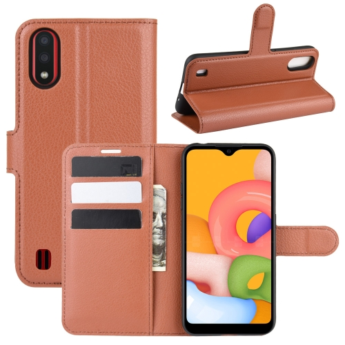 For Galaxy A01 Litchi Texture Horizontal Flip Protective Case with Holder & Card Slots & Wallet(Brown) фото
