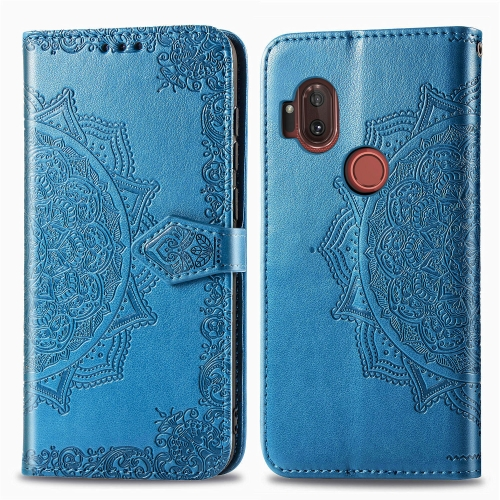 For Moto One Hyper Halfway Mandala Embossing Pattern Horizontal Flip Leather Case with Holder & Card Slots & Wallet & Photo Frame & Lanyard(Blue)