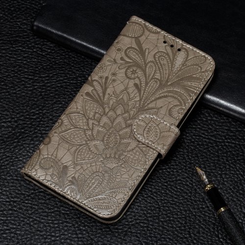 For LG K40S Lace Flower Embossing Pattern Horizontal Flip Leather Case with Holder & Card Slots & Wallet & Photo Frame & Lanyard(Grey)
