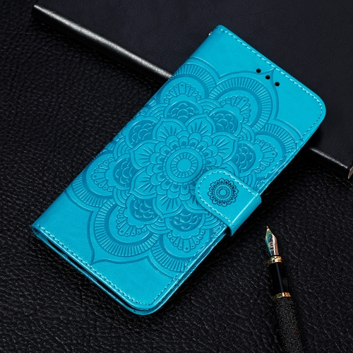 For Galaxy S20 Ultra Mandala Embossing Pattern Horizontal Flip Leather Case with Holder & Card Slots & Wallet & Photo Frame & Lanyard(Blue)
