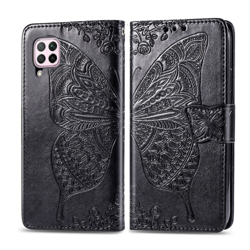 For Huawei P40 Lite / Nova 6 SE   Butterfly Love Flower Embossed Horizontal Flip Leather Case with Bracket / Card Slot / Wallet / Lanyard(Black)