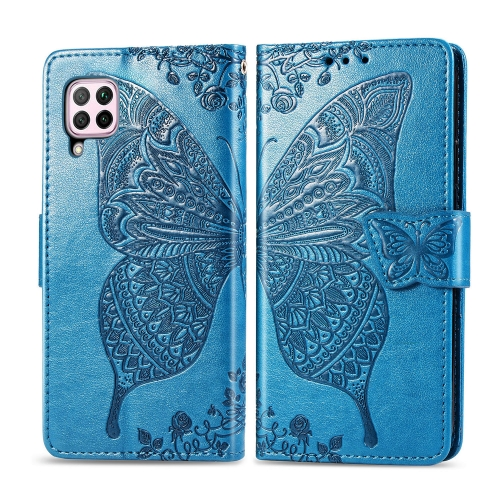 For Huawei P40 Lite / Nova 6 SE   Butterfly Love Flower Embossed Horizontal Flip Leather Case with Bracket / Card Slot / Wallet / Lanyard(Blue)