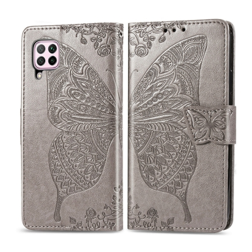 For Huawei P40 Lite / Nova 6 SE   Butterfly Love Flower Embossed Horizontal Flip Leather Case with Bracket / Card Slot / Wallet / Lanyard(Gray)