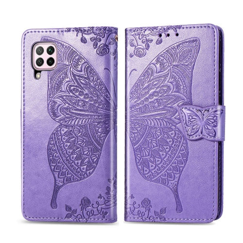 For Huawei P40 Lite / Nova 6 SE   Butterfly Love Flower Embossed Horizontal Flip Leather Case with Bracket / Card Slot / Wallet / Lanyard(Light Purple)