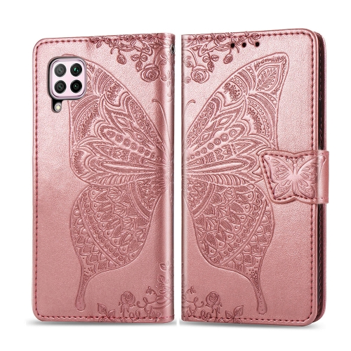For Huawei P40 Lite / Nova 6 SE   Butterfly Love Flower Embossed Horizontal Flip Leather Case with Bracket / Card Slot / Wallet / Lanyard(Rose Gold)