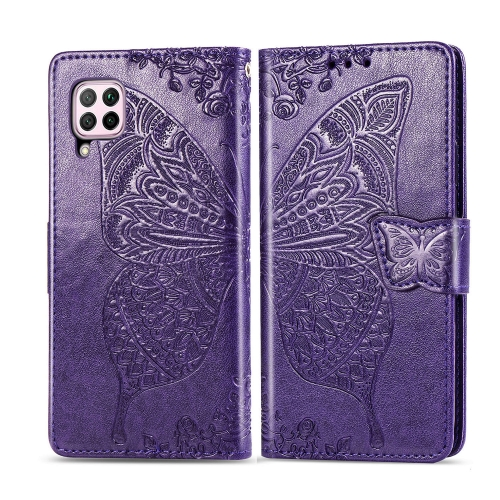 For Huawei P40 Lite / Nova 6 SE   Butterfly Love Flower Embossed Horizontal Flip Leather Case with Bracket / Card Slot / Wallet / Lanyard(Dark Purple)