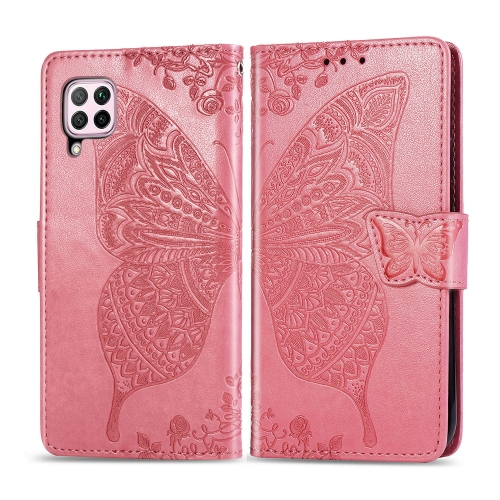For Huawei P40 Lite / Nova 6 SE   Butterfly Love Flower Embossed Horizontal Flip Leather Case with Bracket / Card Slot / Wallet / Lanyard(Pink)