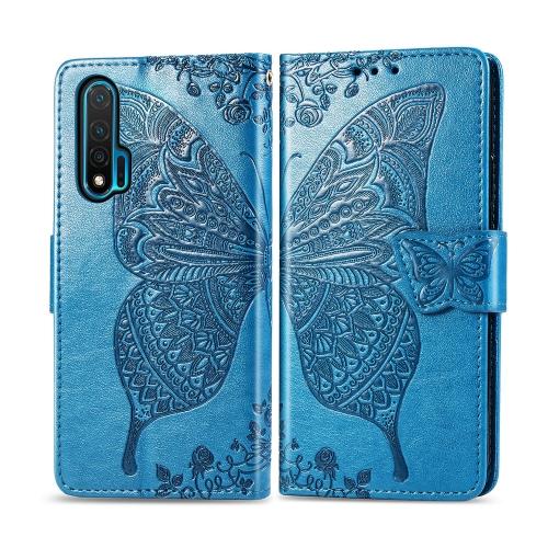 For Huawei Nova 6   Butterfly Love Flower Embossed Horizontal Flip Leather Case with Bracket / Card Slot / Wallet / Lanyard(Blue)