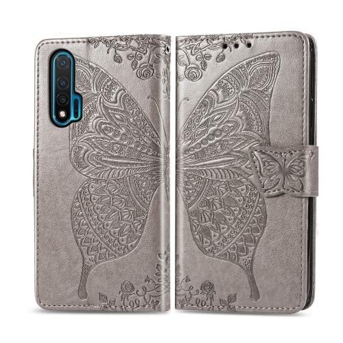 For Huawei Nova 6   Butterfly Love Flower Embossed Horizontal Flip Leather Case with Bracket / Card Slot / Wallet / Lanyard(Gray)