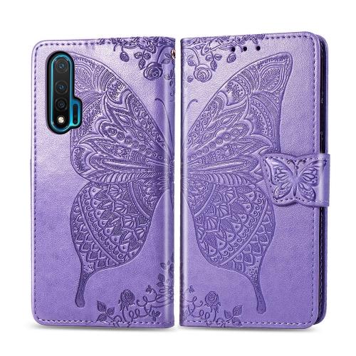 For Huawei Nova 6   Butterfly Love Flower Embossed Horizontal Flip Leather Case with Bracket / Card Slot / Wallet / Lanyard(Light Purple)