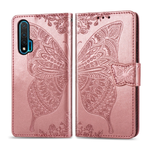 For Huawei Nova 6   Butterfly Love Flower Embossed Horizontal Flip Leather Case with Bracket / Card Slot / Wallet / Lanyard(Rose Gold)