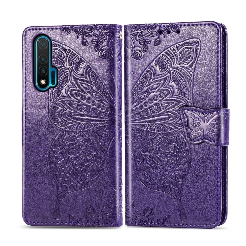 For Huawei Nova 6   Butterfly Love Flower Embossed Horizontal Flip Leather Case with Bracket / Card Slot / Wallet / Lanyard(Dark Purple)