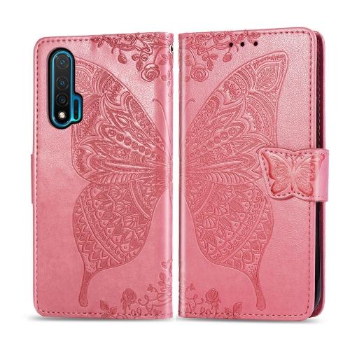 For Huawei Nova 6   Butterfly Love Flower Embossed Horizontal Flip Leather Case with Bracket / Card Slot / Wallet / Lanyard(Pink)