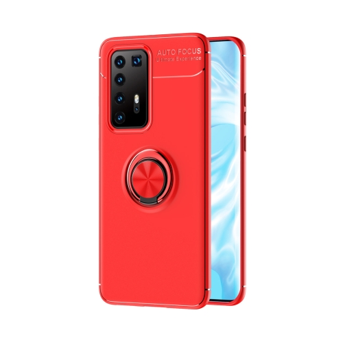 For Huawei P40 Pro Metal Ring Holder 360 Degree Rotating TPU Case(Red+Red)