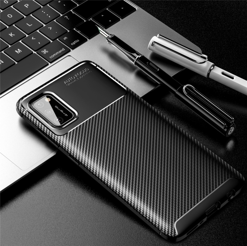 For Galaxy A41 Carbon Fiber Texture Shockproof TPU Case(Black)