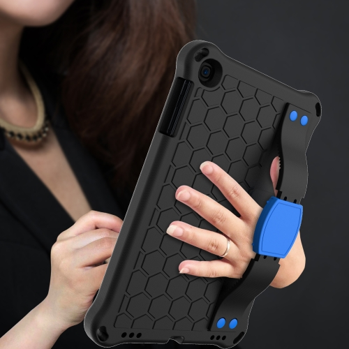 For iPad mini 5 / 4 / 3 / 2 /1 Honeycomb Design EVA + PC Four Corner Anti Falling Flat Protective Shell With Straps(Black+Blue)