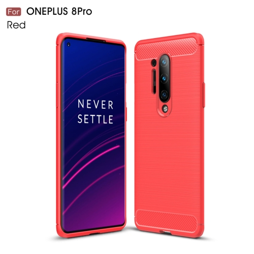 For OnePlus 8 Pro Brushed Texture Carbon Fiber TPU Case(Red)