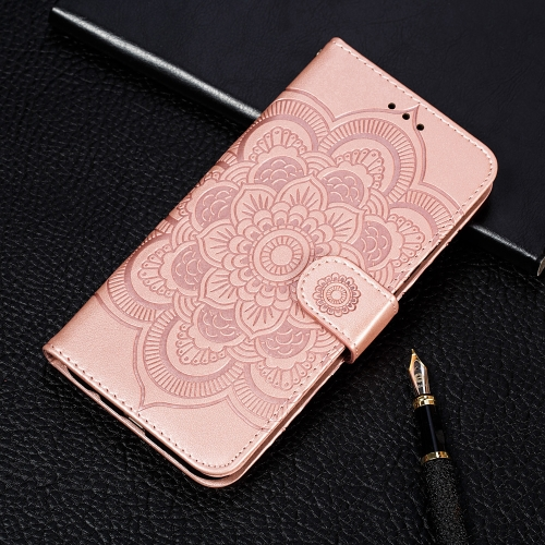For LG K50S Mandala Embossing Pattern Horizontal Flip Leather Case with Holder & Card Slots & Wallet & Photo Frame & Lanyard(Rose Gold)