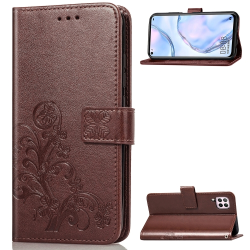 For Huawei P40 Lite / Nova 6 SE / Nova 7i Four-leaf Clasp Embossed Buckle PU Leather Case with Lanyard & Card Slot & Wallet & Holder(Brown)