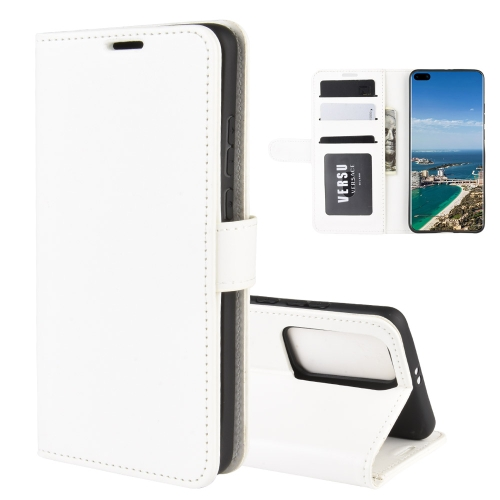 For Huawei P40 Pro+/P40 Pro Plus R64 Texture Single Horizontal Flip Protective Case with Holder & Card Slots & Wallet& Photo Frame(White)