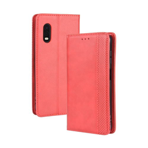 For Galaxy Xcover Pro Magnetic Buckle Retro Crazy Horse Texture Horizontal Flip Leather Case , with Holder & Card Slots & Photo Frame(Red) фото